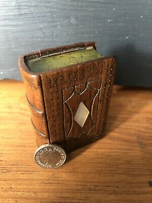 Antique Treen Miniature Secret Compartment Book Shaped Box Mother Of Pearl Inlay