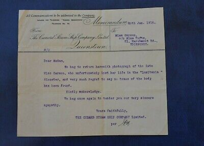 Very Rare Original Lusitania Disaster Official Letter - Re Lost Body. Cunard.
