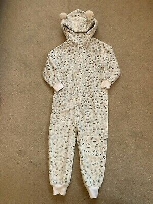 Girls NEXT White & Grey Animal Print Onesie (not Gerber) Age 4 - All In One