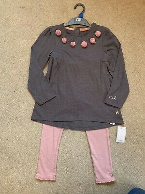 Mothercare Girls Grey & Pink Leggings, Top Set - Age 4-5 years - BRAND NEW
