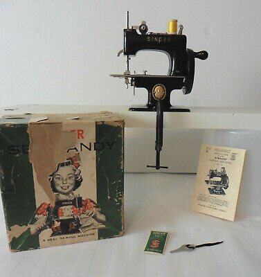 Vintage Singer Sew Handy 20-10 Hand Crank Mini Sewing Machine Black with Box
