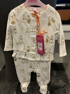 Ted Baker Girls Outfit Sleepsuit And Jacket Gold Bunnies 3-6 Months BNWT