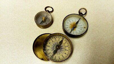 3 Antique/Vintage Early to mid 20th Century Pocket Compasses