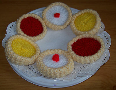 Hand knitted tarts - toy food