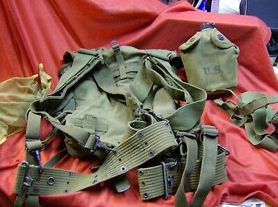 WW2 WWll Korea Vintage US Army Back FIELD PACK  BELT Canteen Vollrath 1944 Cover