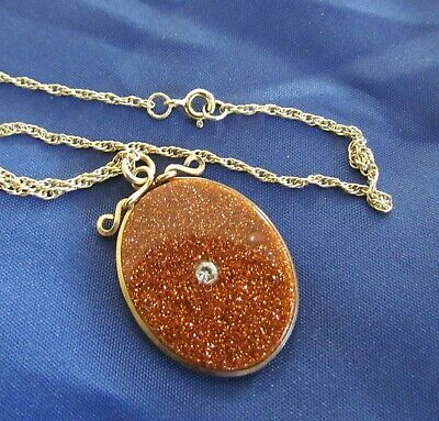 "Stunning Large Impressive Gold Stone Goldstone Pendant With 18"" Chain"