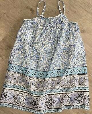 Gap Girls Dress Age 8 Years Cream/Blue Aztec/Floral Print Cotton Summer Used