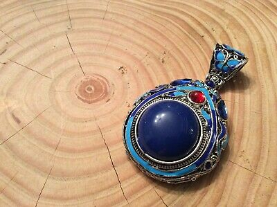 Handcrafted Miao Silver Carving Flower Inlay Blue Bead Exquisite Pendant