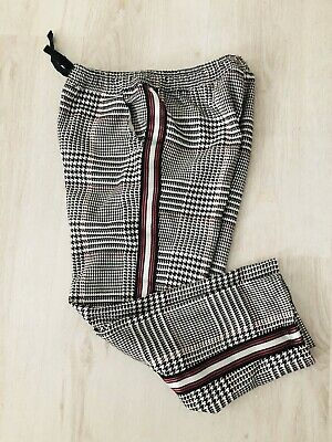 NEXT Girls Age 7 Years IMMACULATE Dogtooth Stripe Line Drawstring Trousers