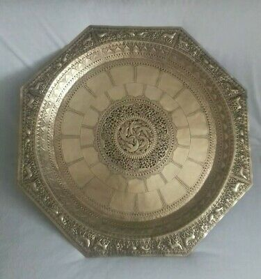 Rare Large Antique Persian Middle Eastern Brass Repoussè Open Work Tray Platter