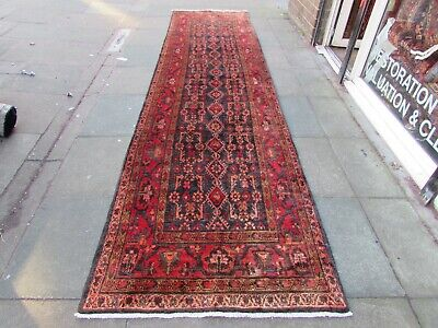 Vintage Traditional Hand Made Oriental Blue Red Wool Long Runner 447x110cm