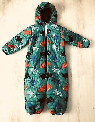 NEXT Boys Age 2-3 Years Dinosaur Quilted Puffa Snowsuit Immaculate