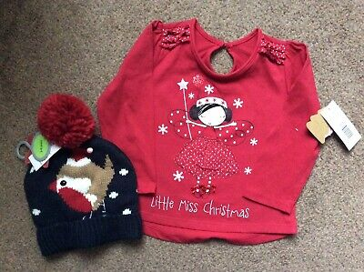 BNWT Matalan Girls Red Christmas Tshirt Top & Bobble Hat Size Age 2-3 Years
