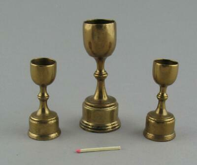 Set 3 Antique Georgian Bronze Brass Goblet Apothecary Measures Original Stands