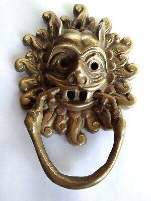 Large Heavy Vintage Brass Durham Cathedral Lion / Cat Face Door Knocker