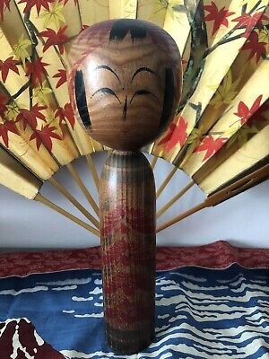 Vintage Large Japanese Wooden KOKESHI Hand Carved Traditional Doll Tall Signed