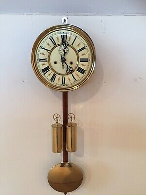 antique Vienna Wall clock gustav becker Complete Movement,dial ,weights Pendlum.
