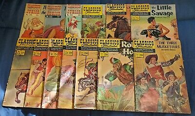 Lot of 13 Classics Illustrated/Jr-3 Musketeers-Robin Hood-Marco Polo-King Arthur