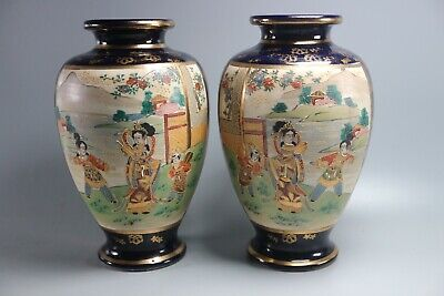 Pair Of JAPANESE PORCELAIN BLUE SATSUMA HAND PAINTED VASES
