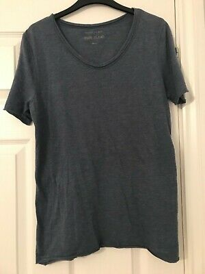 RRP £340 Angelo Galasso White V-Neck T-Shirt with Blue Araldica BRAND NEW