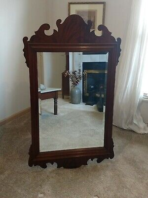 COUNCILL CRAFTSMEN Mahogany Chippendale Traditional Vintage Beveled Edged Mirror