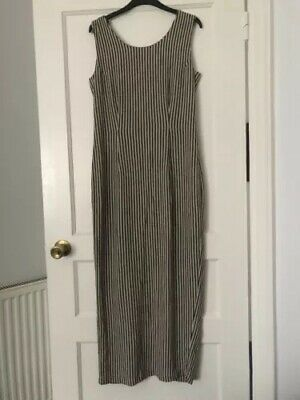 Wallis Fitted Black And White Striped Fitted Shift Dress Size 10