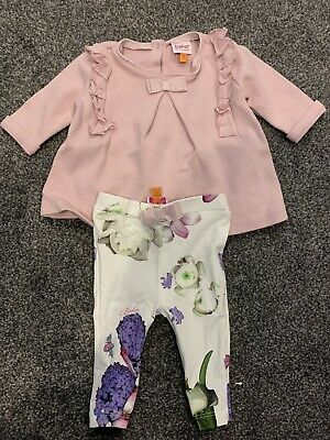 Ted Baker Baby Girls Pink Ruffle Top Amd Leggings Outfit 0-3 Months