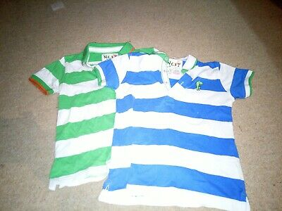 2 Boys Stripy Next Tops Age 5-6 In Green And Blue