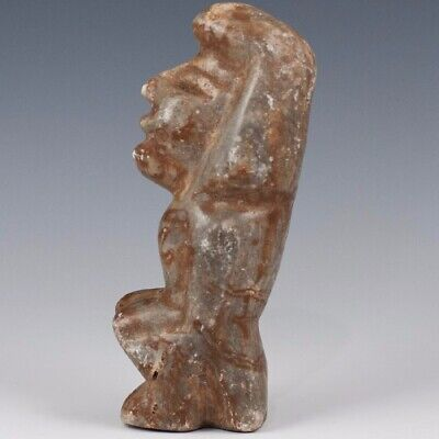 """CARVED Pre-Columbian Olmec Sitting Human Effigy Reproduction LARGE 7"""" Tall"""