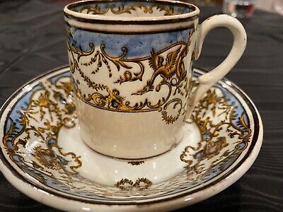 ANTIQUE GIEN FAIENCE FRANCE CHINA TEA CUP & SAUCER SET 19th CENTURY GRYPHONS