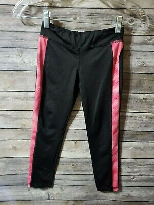 Old Navy Girls youth 6/7 active wear pants leggings stretchy black pink inseam 1