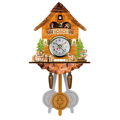 2X(Antique Wooden Cuckoo Wall Clock Bird Time Bell Swing Alarm Watch Home A S7V3