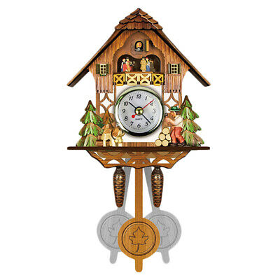 2X(Antique Wooden Cuckoo Wall Clock Bird Time Bell Swing Alarm Watch Home A I2B4