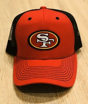 SAN FRANCISCO 49ERS NFL Patch Style Cap Hat 2019 Red & Black Mesh NFC CHAMPIONS