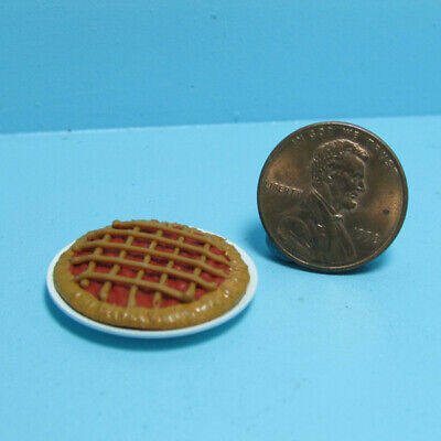 Dollhouse Miniature Whole Cherry Pie in Metal Pie Plate Dish IM65474
