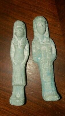 Egyptian Antique Blueish Man & Woman Statue Egypt  Stone Age Unknown