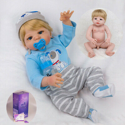 "22"" Lifelike Reborn Baby Doll Handmade Full Body Silicone Vinyl Newborn Boy Doll"