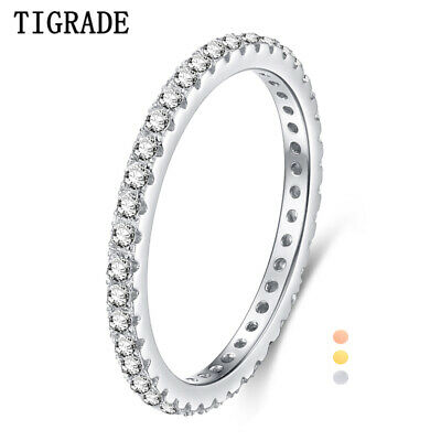 2mm Thin Stackable 925 Sterling Silver Ring Full 5A Cubic Zirconia Upgrade Inlay