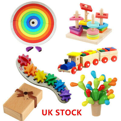 Wooden Building Game Toys Child Kids Montessori Early Educational Learning Gift