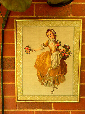 VINTAGE FRAMED TAPESTRY-1800's VICTORIAN LADY & FLOWERS -EMBROIDERED EDGINGS