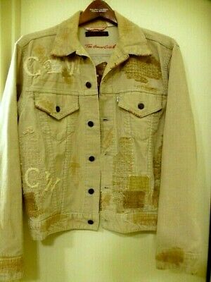 LEVIS Trucker Corduroy Jacket~Great China WALL~sz 42 Distressed TGCW~BuTTonStamp