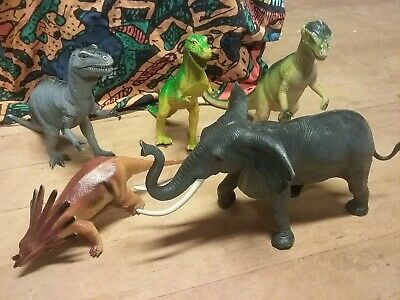 Lot Of 5 Vintage Imperial Dinosaurs And Elephant Toys