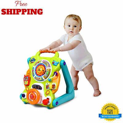 3 in1 Kids Activity Sit to Stand Musical Learning Walker Safety Design