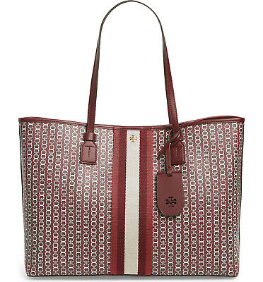 NWT Tory Burch Gemini Link Canvas Shoulder Tote Bag Burgundy Wine RED AUTHENTIC