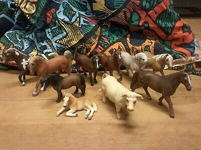 Lot Of 10 Schleich Horses Cow Figures 2000 - 2013