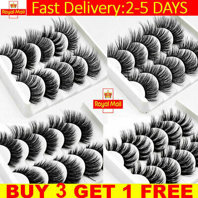 5 Pairs 3D Mink Fake Eyelashes Long Thick Natural False Eye Lashes Set Makeup UK