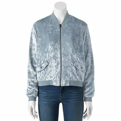 Women's Cloud Chaser Velvet Bomber Jacket -  Black Blue Gray Pink [MSRP $58.00]