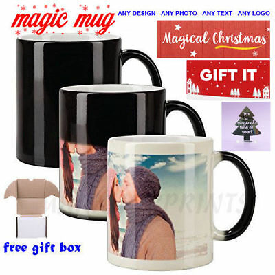 Personalised Magic Mug Cup Heat Colour Changing Custom Photo Text Christmas Gift