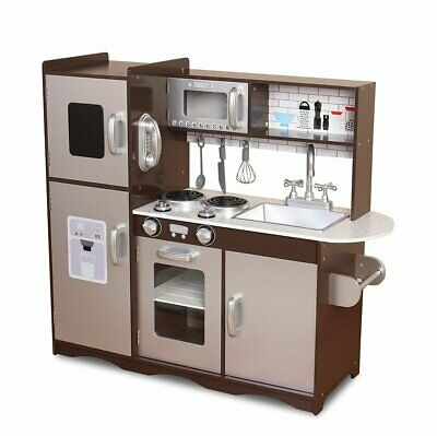 MCC Large Wooden Play Kitchen for Kids, Silver and Coffee Colour, Brand New