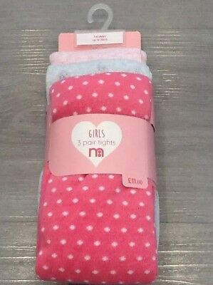 Mothercare Girls Pack Of 3 Tights New With Tags Age  5-6 Years
